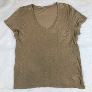 🌟J crew linen gold tan v neck shirt shimmer xl